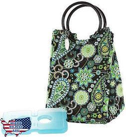 Fit & Fresh Ladies Retro Insulated Lunch Bag, Green Paisley,