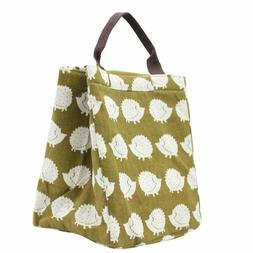 Mziart Reusable Cotton Lunch Bag Insulated Lunch Tote Soft B
