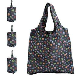 HOLYLUCK Set of 3 Reusable Grocery Bags,Heavy Duty Foldable