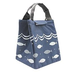 Mziart Reusable Lunch Bag Cute Fish Canvas Lunch Tote Picnic