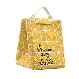 Reusable Lunch Bag Fold able Canvas Tote Travel Holder Bento