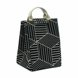 Mziart Reusable Lunch Bag, Foldable Canvas Lunch Tote Geomet
