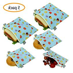 Reusable Sandwich Bags Snack Bags - Set of 5 Pack, Dishwashe