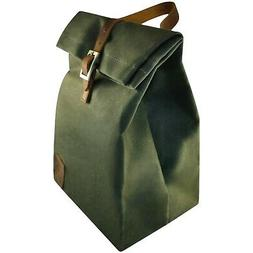 Insulated Waxed Canvas Lunch Bag w/ Back Pocket  Reusable &