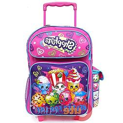 "Brand New Shopkins 16"" GIRLS KIDS LARGE ROLLING BACKPACK Plu"
