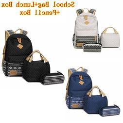 School Backpack for Boys Girls 3pcs/set Canvas Insulated Lun