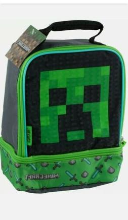 Minecraft School Soft Insulated Dual Lunch Box Tote Kit Bag