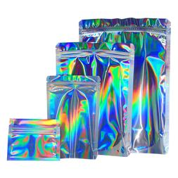 Silver Mylar Rainbow Foil   Grip Seal + Heat Seal   Food Bag