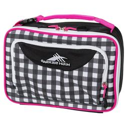 High Sierra Kids Black Pink Plaid Lunch Bag Girls One size F