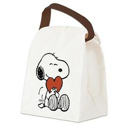snoopy hugs heart canvas lunch bag