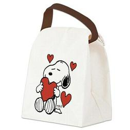 CafePress Snoopy On Heart Canvas Lunch Bag with Strap Handle