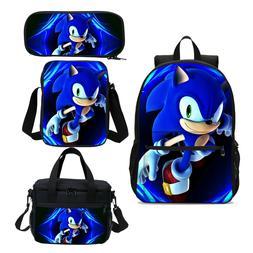 Sonic The Hedgehog Kids School Backpack Lunch Sling Bag Pen
