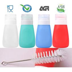 Squeeze Salad Dressing Bottles with Cleaning Brush | Portabl