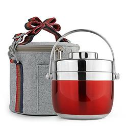 2-Tier Stainless Steel Lunch Box Anti Leak Heat Cold Insulat