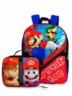 Super Mario Bros Brothers Boys School Backpack Lunch box Boo