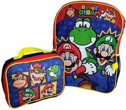"Super Mario Bros Little Boys 16"" Pre School Backpack Book Ba"