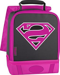 Thermos Supergirl Insulated Lunch Box Cape Pink Glitter Dual