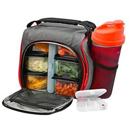 Thermal Insulated Lunch Bag Bento Box - Kit with 6 Leakproof