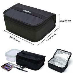 Thermal Insulated Lunch Bag Black Cooler Warmer Small Box Po