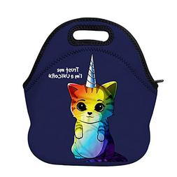AOTIGO Rainbow Unicorn Cat Neoprene Lunch Bag Insulated Lunc