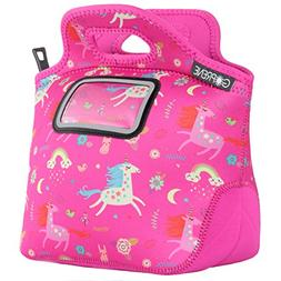 Unicorn Lunch Bag for Girls | with Name Label Pocket | Insul