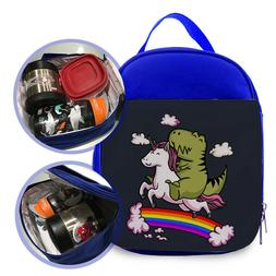 unicorn RIDING dinosaur 1 Kids lunch Bag / Personalized