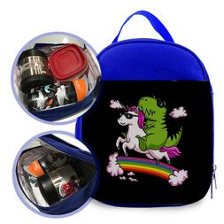 unicorn RIDING dinosaur 2 Kids lunch Bag / Personalized