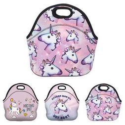 USA Girls Kids Unicorn Lunch Bag Neoprene Handle Nursery The