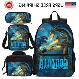 USA Godzilla Kids Schoolbag Set Boys Backpack Insulated Lunc