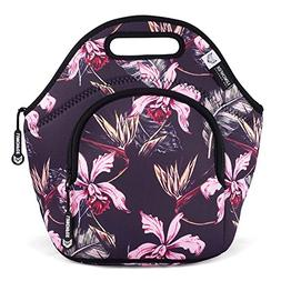 LunchFox Vintage Floral Print Eco-Friendly Neoprene Lunch Ba