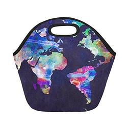 Artsadd Watercolor Map Lunch Tote Bag Reusable Neoprene Cool