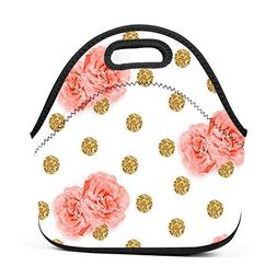 Watercolor Roses on Gold Glitter Lunch Bag Insulated Reusabl