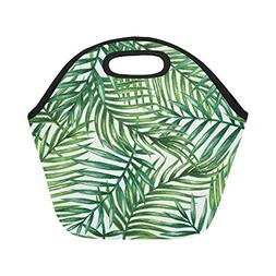 Artsadd Watercolor Tropical Palm Leaves Insulated Lunch Tote