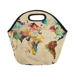 Artsadd Watercolor World Map Insulated Lunch Tote Bag Reusab
