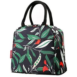 Waterproof Lunch Bag with Side Pocket for Women Girls Reusab