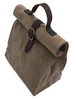 Lunch Bag | Waxed canvas | with Leather Handle | Professiona