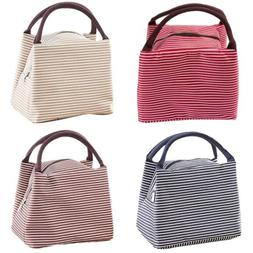 Women Canvas Insulated Thermal Tote Lunch Box Lunch Bag Hand