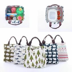 For Women Men Kids Insulated Canvas Box Tote Bag Thermal Coo