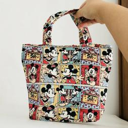Women Mickey Mouse Lunch Bag Canvas Picnic Travel Storage Ba