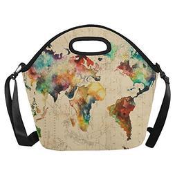 Artsadd World Map Neoprene Lunch Bag Reusable Lunch Box Lunc