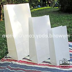 x12, 50,100 White Paper Gift Wedding Party Favor bags_Lunch
