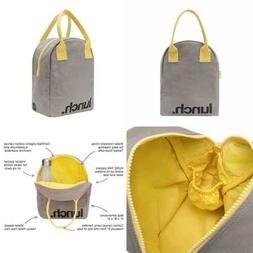 Fluf Zipper Lunch Bag Organic Cotton GREY 'Lunch' &#039 LUNC
